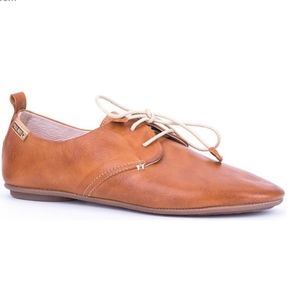 Pikolinos Calabria Leather Lace Up Flat Loafers 38